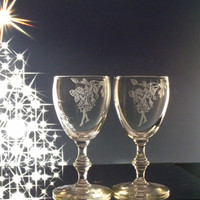 Fairy floral miniature wine glasses / wine tasting glasses , hand engraved wine glass set of two