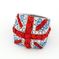 Shiny Rhinestone Paved British Flag Dome Ring wholesale