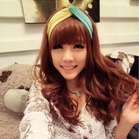 Yellow and Blue Wide Stretchy Headband wholesale