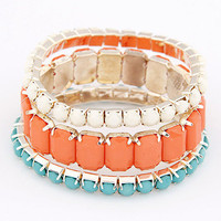 Orange Blue Layered Stretchy Bracelet Set wholesale