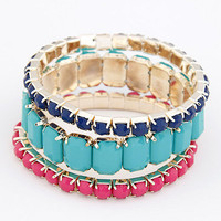 Blue Pink Triple Beaded Strand Bracelet Set wholesale