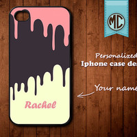 Personalized iPhone Case - Plastic or Silicone Rubber Monogram iPhone 4 4S Case Cover - K023