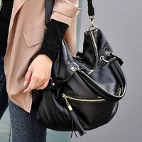 New Women Lady Korean Hobo PU Tassel Leather Handbag Shoulder Bag Large Capacity