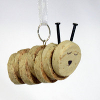 Caterpillar Cork Christmas Ornament - Upcycled Wine Cork (Ready to Ship)