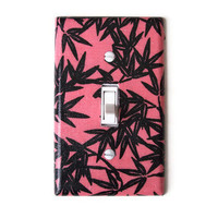 Coral & Black Floral Single Toggle Switchplate