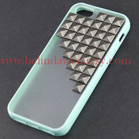 studded iphone 5 case, Gun black pyramid stud iPhone case, mint green Frosted Translucent iphone 5 case, case for iphone 5