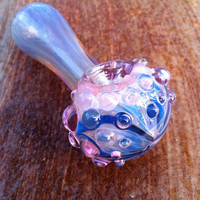 Electric Purple and Blue Color Changing Glass Pipe with Texture