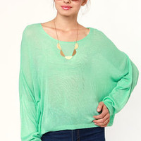 Valley of the Dolman Sheer Mint Green Sweater