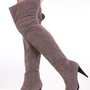 Grey Soft Faux Suede Thigh High Closed Toe Boots @ Amiclubwear Boots Catalog:women&#x27;s winter boots,leather thigh high boots,black platform knee high boots,over the knee boots,Go Go boots,cowgirl boots,gladiator boots,womens dress boots,skirt boots,pink boo