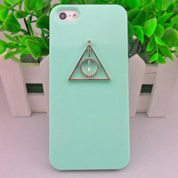 iPhone 5 hard Case Cover with  Deathly Hallows triangle harry potter For iPhone 5 Case, iPhone hand case cover  -297