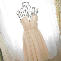 Sweetheart Elegance Cocktail Party Prom GODDESS handmade drape ivory beige chiffon crosses double straps deep V dress