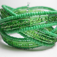Braided Cuff Bracelet Holiday Green Beaded Cuff Bracelet