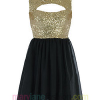 New Womens Gold Sequin Cut Out Top Chiffon Mini Skater Party Dress 8 10 12 14