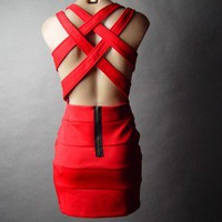 Bold Red Bombshell Bandage Lattice Cutout Open Back Evening Party Sheath Dress S