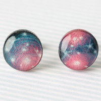 Pink & Teal Galaxy Post Earrings
