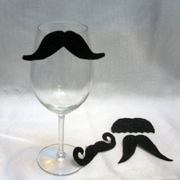 Premium Staches for Your Glasses Mustache Wine Charms (Set of Four to clip on) Novelty Funny Christmas stocking stuffer
