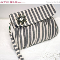 CHRISTMAS SALE Snowflake winter clutch, grey and white stripe linen purse