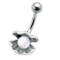 Clamshell with Pearl Belly Button Ring: Jewelry: Amazon.com
