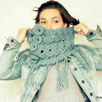 Broomstick Lace Crochet Cowl - Smoke Grey Blue Cowl - 100% Wool - Peacock's Eye Crochet - Jiffy Lace Cowl