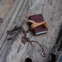 Book Necklace Large classic brown vintage by TheBlackSpotBooks