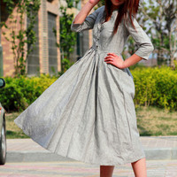elegant plain grey linen long dresses by xiaolizi on Etsy