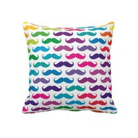 Multicolored Mustache Patterned Pillows from Zazzle.com © 2012, Diamond Images Design
