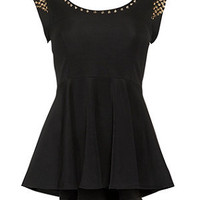 Parisian Black Stud Peplum Top