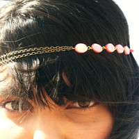Chain Headpiece Headband Bohemian Hipster Boho Hippie Bronze Coral Pink Mother of Pearl Bridal Statement Jewelry