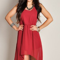 Cute Burgundy Sleeveless High Low Flowy Chiffon Dress