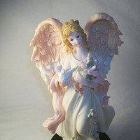 Beautiful Ornate Pastel Angel with Flowers and Dove Figurine,  Exquisite Vintage 1980s Home Decor, From TKSPRINGTHINGS Christmas Collection