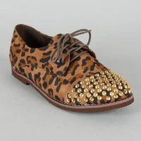 Breckelle Kelley-12 Leopard Studded Spike Oxford Flat