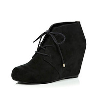 Black leopard print panel wedge ankle boots