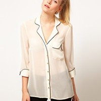 ASOS Blouse With Contrast Piping And Gold Buttons at asos.com