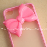Iphone 4 Case, lovely big pink bow iphone 4s Hard Case iPhone Case 4 baby pink side clear case.
