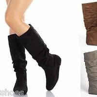 Mid Calf Knee High Round Toe Slouch Comfort Casual Flat Women&#x27;s Boot Black