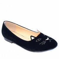 Black Kitty Print Flats