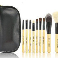 9 PCS Set Pro Cosmetic Make up Brush Tool Kit + Zipper Leather Pouch Case