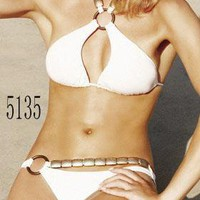 Sexy Swimwear Padded Bra Halter Bikini White Swimwear Bathing suit