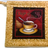 Coffee Cup Pot Holder, Gold, Brick Red and Chocolate Brown