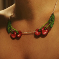 Knotty Cherry Tattoo Style Necklace