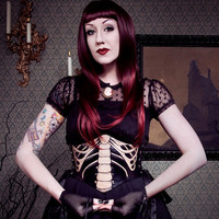The Ribcage...Hand Tooled Leather Skeleton Bones Ribbon Laced Waist Cincher Corset Belt