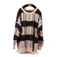 Retro casual women plaid loose knit sweater long sleeve cardigan Blouse Top coat