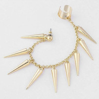Long Chain Spike Ear Cuff Gold Spike Ear Cuff
