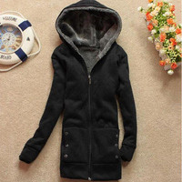 Cute Korean Hoodie Fleeces TOP Coat Women Lady Outerwear Autumn Winter Surcoat