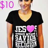 JCLU Forever Christian t-shirts — JESUS IS MY SAVIOR V-NECK BLACK