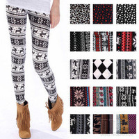 Knitted Casual Colorful Crystal Pattern Leggings Tights Pants P777