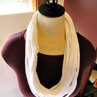 Infinity circle t shirt scarf fun trendy and easy to wear white | UnusuallyYours - Accessories on ArtFire