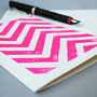 Pink Chevron Notecard Magenta Blank Card 5 x 7 by cursiveart