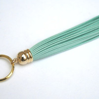 Turquoise Leather Tassel Keychain. Light Turquoise. Tiffany. Bridesmaid. Key Chain. Split Ring. Wedding Gift. Gift for Her. Gift under 20.