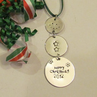 MERRY  CHRISMAS Ornament - Personalized Christmas Gift Tag - Personalized Ornament - Snowman style 2